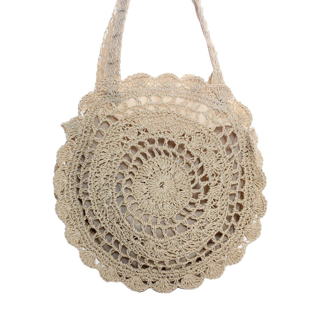 Women Straw Woven Bag Beach bag Crossbody Shoulder Bag for Summer Holiday (Beige)