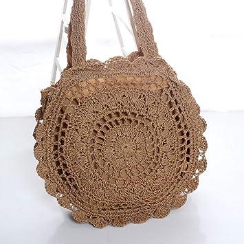 Ldyia Moda Cuerda de Papel Crochet Flor Grande Bolsa de Paja Bolsa de Playa Bolso Tejido Bolsa de Playa de Verano Hueco Bolsa de Hombro