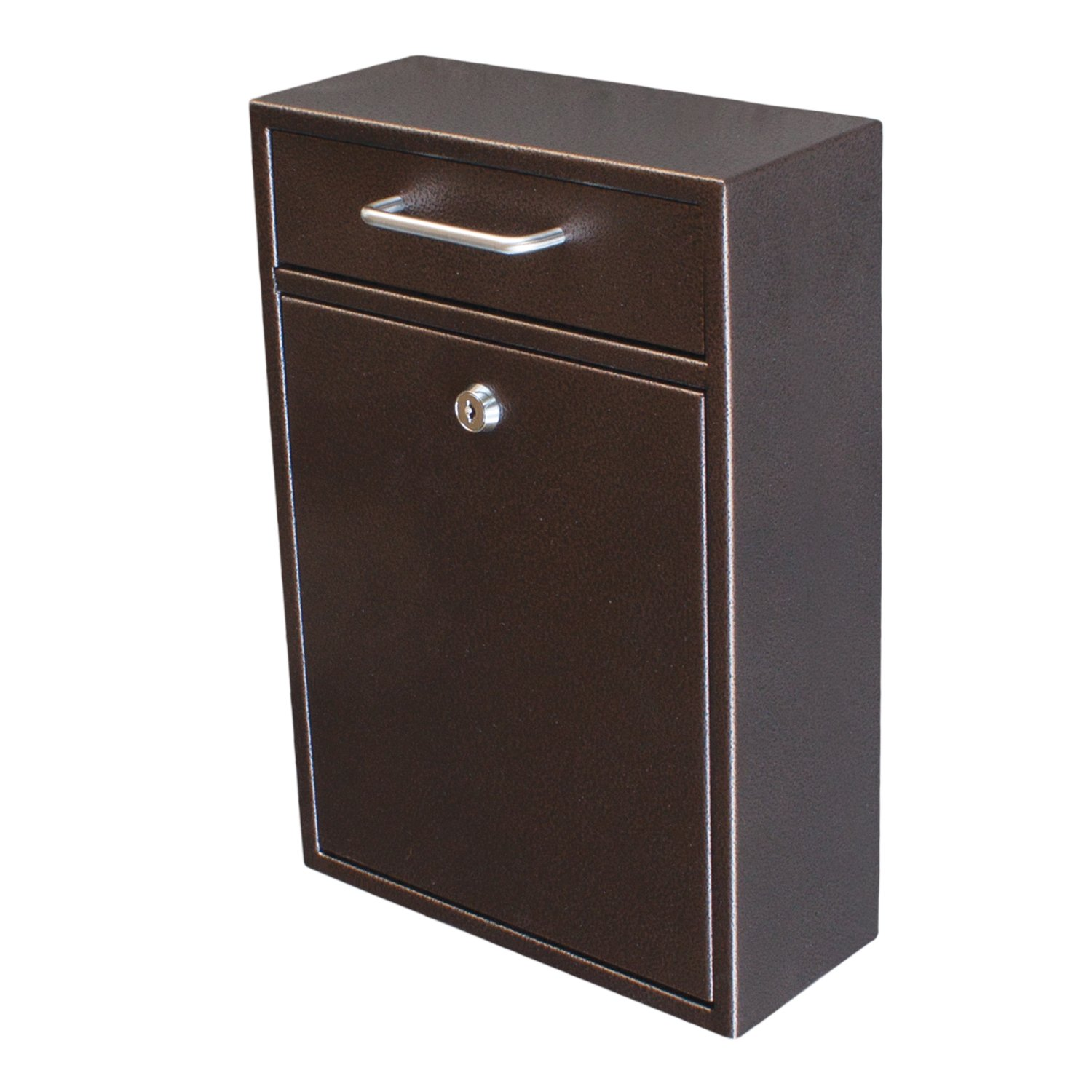 Mail Boss 7418 High Security Steel Locking Wall Mounted Mailbox - Office Drop Box - Comment Box - Letter Box - Deposit Box, Bronze