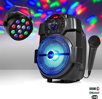 Enceinte Karaoke Batterie 180w Usb Bluetooth Radio Jeu De Lumière Par Mini Rgbw Micro Amazon Fr Instruments De Musique