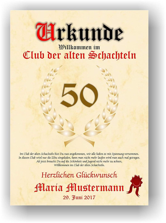Urkunde Alte Schachtel Willkommen Im Club Der Alten Schachteln Personalisierte Geschenk Karte Lustige Geschenkidee