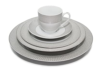 Royalty Porcelain u0026quot;Crocodileu0026quot; 20-Piece Silver Dinnerware Set Porcelain Service  sc 1 st  Amazon.com : black and silver dinnerware - Pezcame.Com