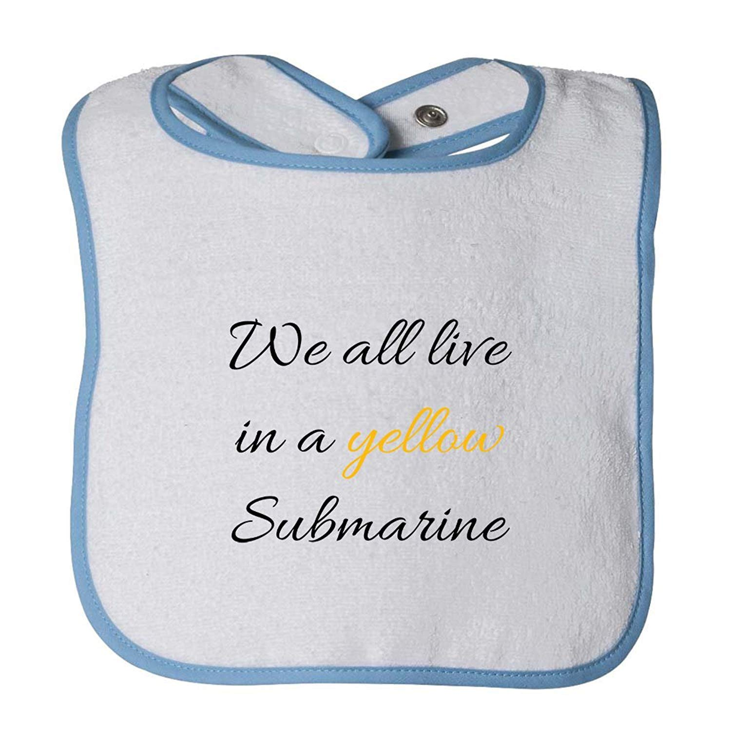 We All Live In A Yellow Submarine Infant Contrast Trim Terry Bib Degrema rizhaobaifakang
