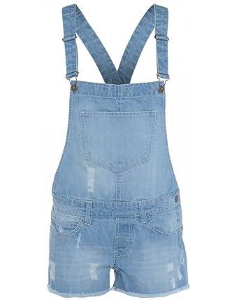 642f604e432 Unbranded New Kids Girls Denim Stretch Light WASH Playsuit Jumpsuit Dungaree  Shorts  Amazon.co.uk  Clothing