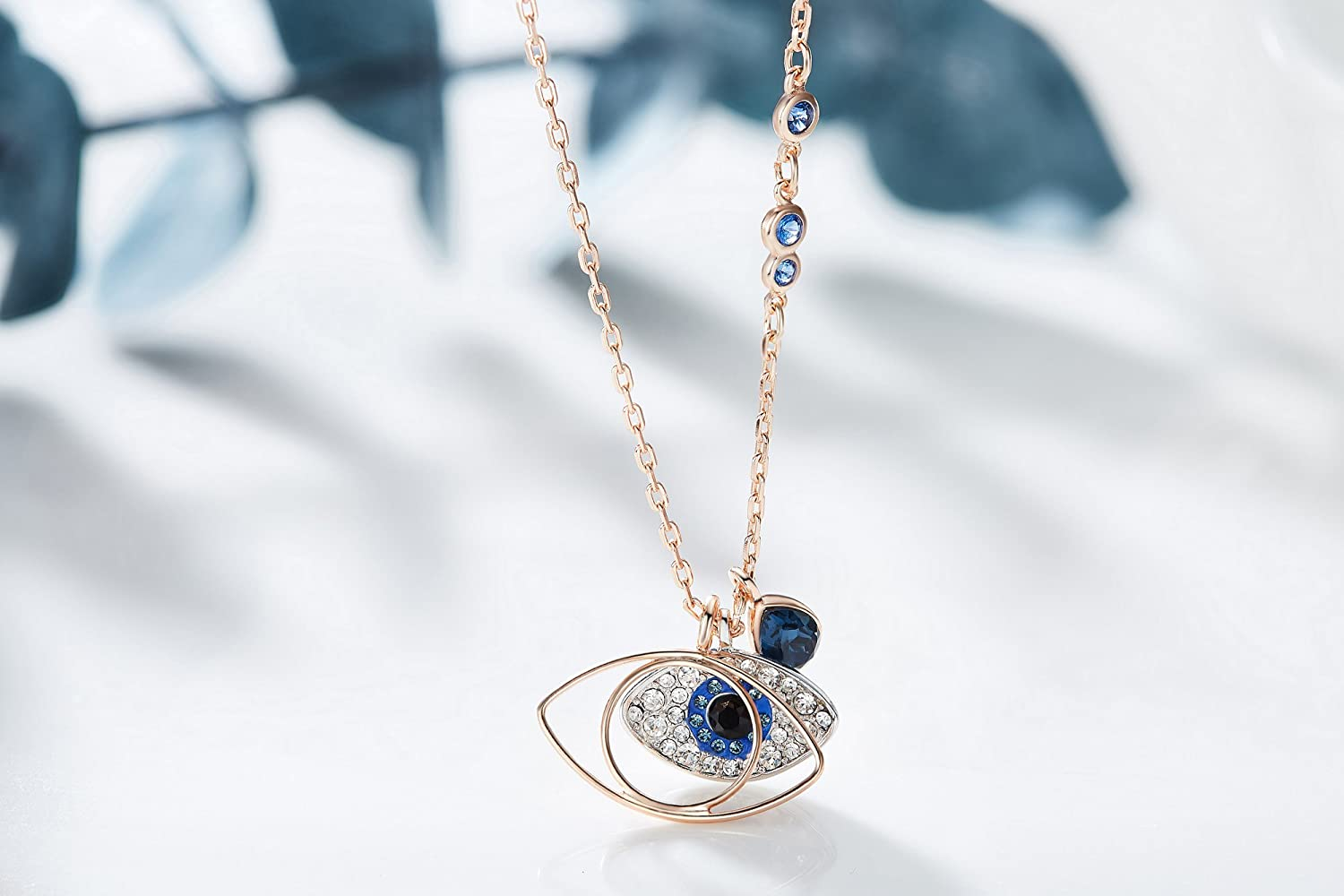 Crystal Necklace Gift for Girls 925 Sterling Silver Girls Necklace Evil Eye Necklace,Blue Topaz Necklace Gifts for Mother