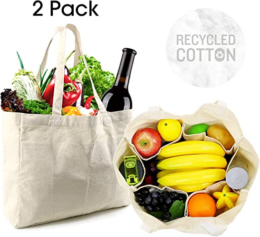 Bolsas de la compra reutilizables de lona, 2 unidades, bolsas grandes de algodón, bolsas de compras plegables blancas, bolsa de compras natural lavable a máquina con mangas de botella: Amazon.es: Hogar