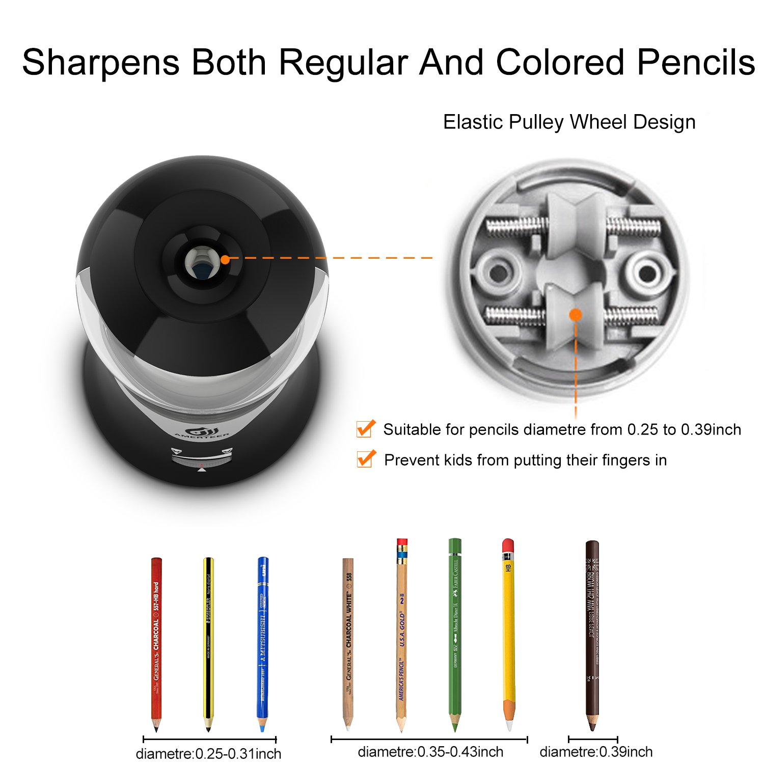 AMERTEER Electric Pencil Sharpener - AC Powered with Auto-Stop Feature,Durable and Portable for Classroom & Office,Safe for Students and Kids by AMERTEER (Image #4)