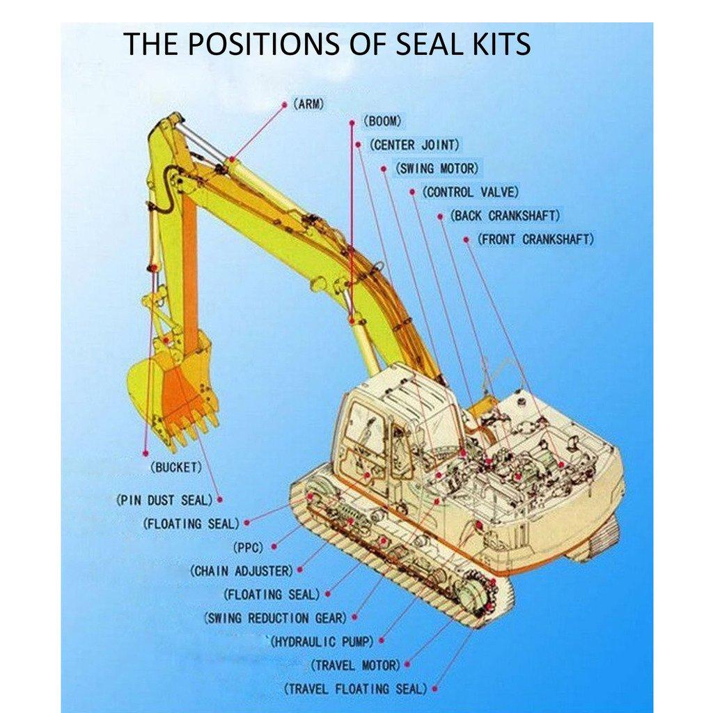 3 Month Warranty SINOCMP Excavator Swivel Joint Seal Kit for Komatsu PC220-5 Excavator Parts