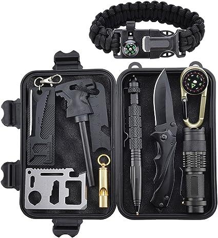 Kit de Supervivencia Profesional, Xuanlan 10 Piezas Outdoor Caminata Campamento Campamento de Emergencia Kit de Supervivencia con Fire Starter Saber Card Lanar Silbato: Amazon.es: Deportes y aire libre