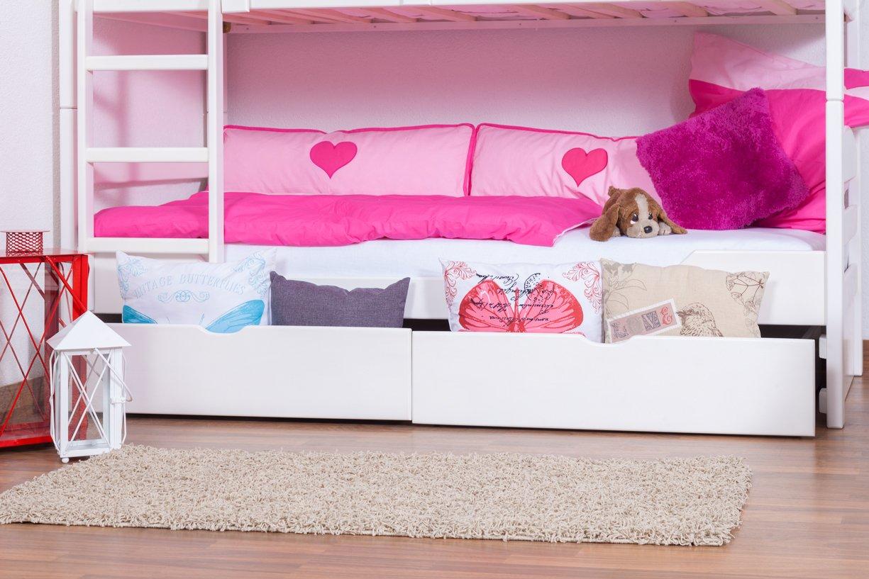 Stockbett mit Bettkasten Easy Sleep K3/n inkl. 2 Schubladen und 2 Abdeckblenden, 90 x 200 cm Buche Vollholz massiv weiß lackiert, teilbar