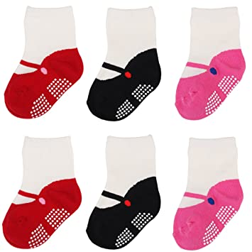 Amazon Com Hsell 6 Pairs Mary Jane Socks For Baby Girls Grips Non