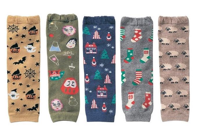 Pack de 5 Calcetines Botines Booties de Piernas Dibujo de Halloween Navidad para Bebés niños niñas