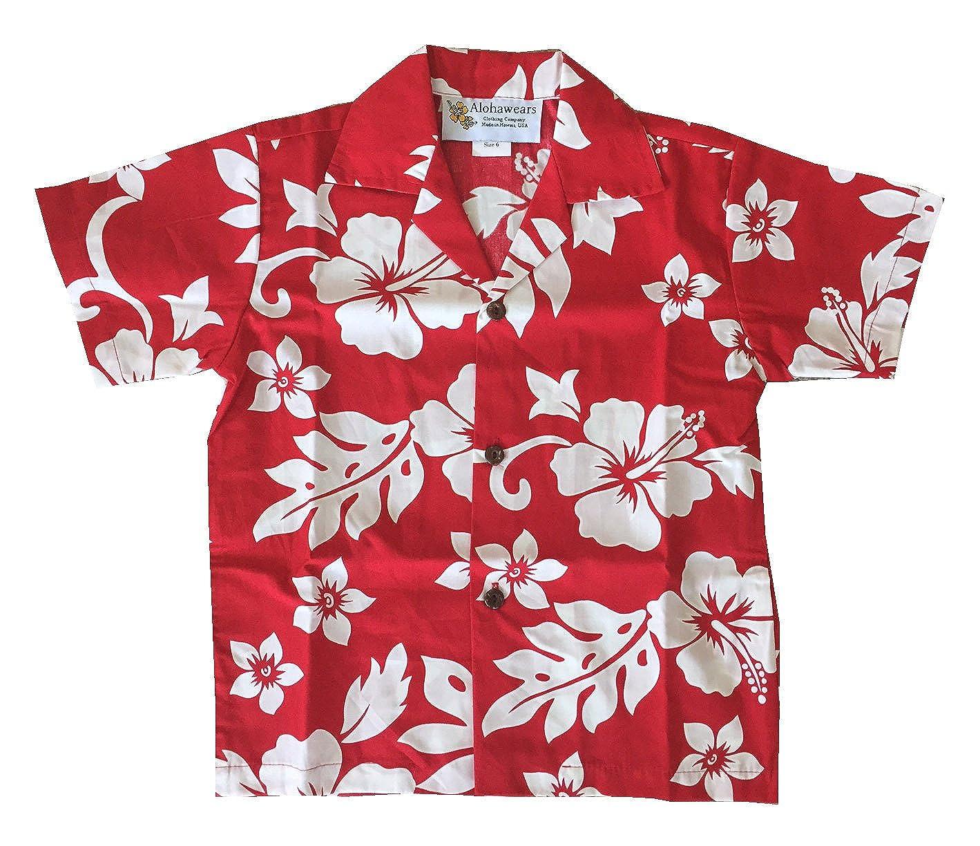Made in Hawaii ! Boy's Classic Hibiscus Hawaiian Aloha Shirt