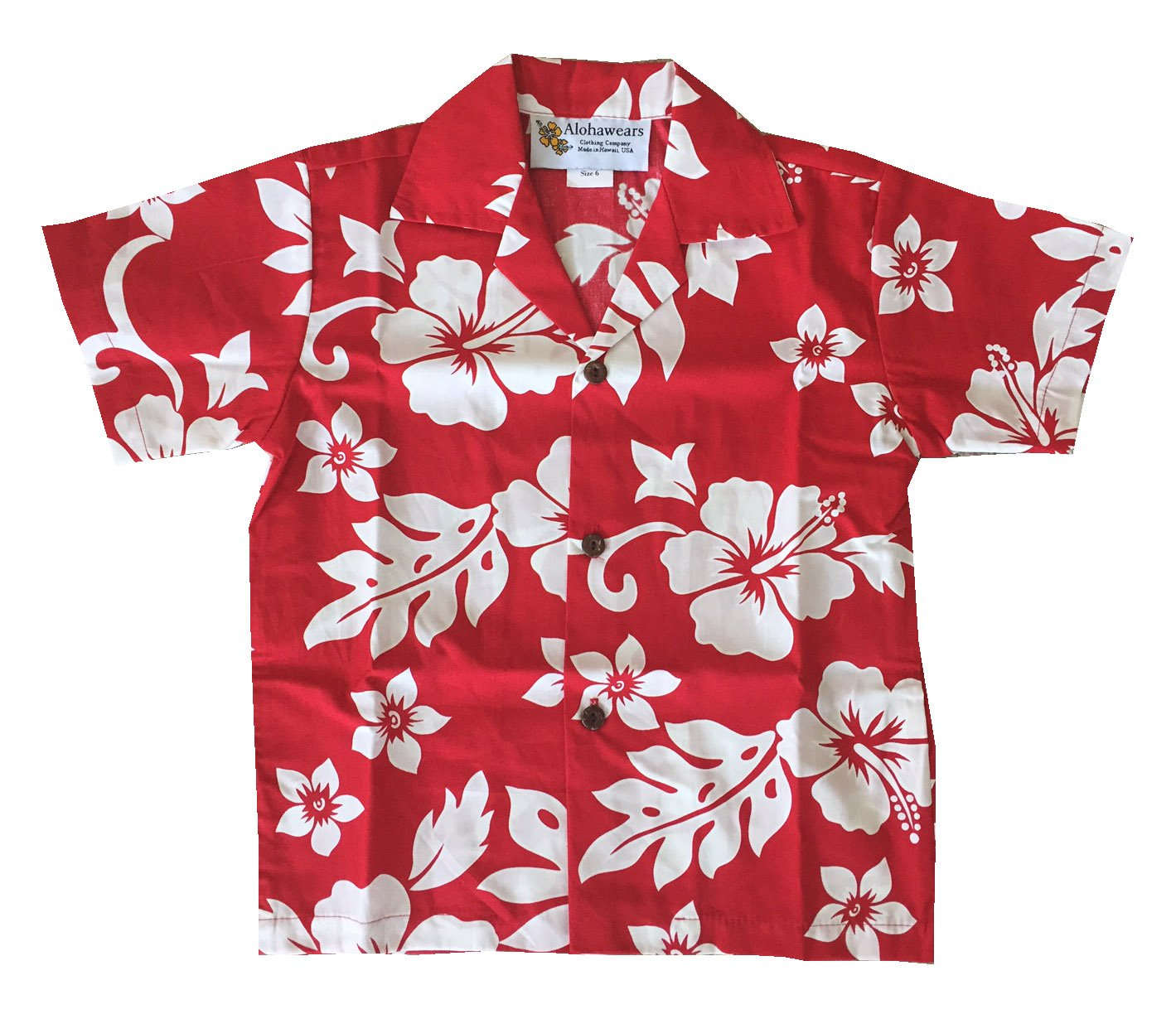 Made in Hawaii ! Boy's Classic Hibiscus Hawaiian Aloha Shirt (8, RED)