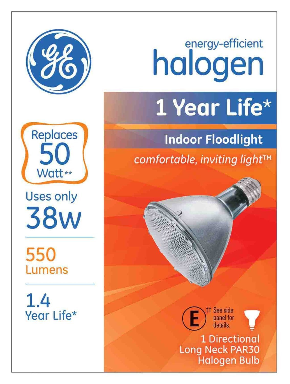 GE Lighting 69168 38-watt PAR30 Long Neck, 550-Lumens, Energy-Efficient Halogen Floodlight Bulb with Medium Base, (1-Pack)