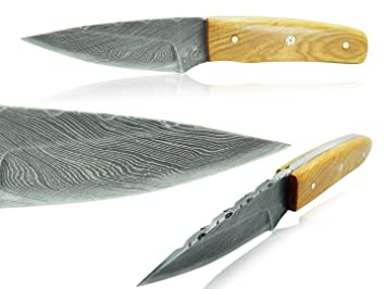 Cuchillo Artesanal 15 cm - Hoja Acero Damasco Empuñadura ...