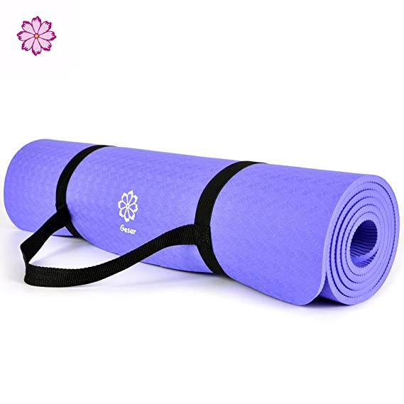 Gesar Non Slip Yoga Mat-1/3 Thick High Density Durable Cushioning Support to Avoid Sore Knees During Pilates,Stretching & Workouts-Longer and Wider Than Ordinary Exercise Mats (Voilet)