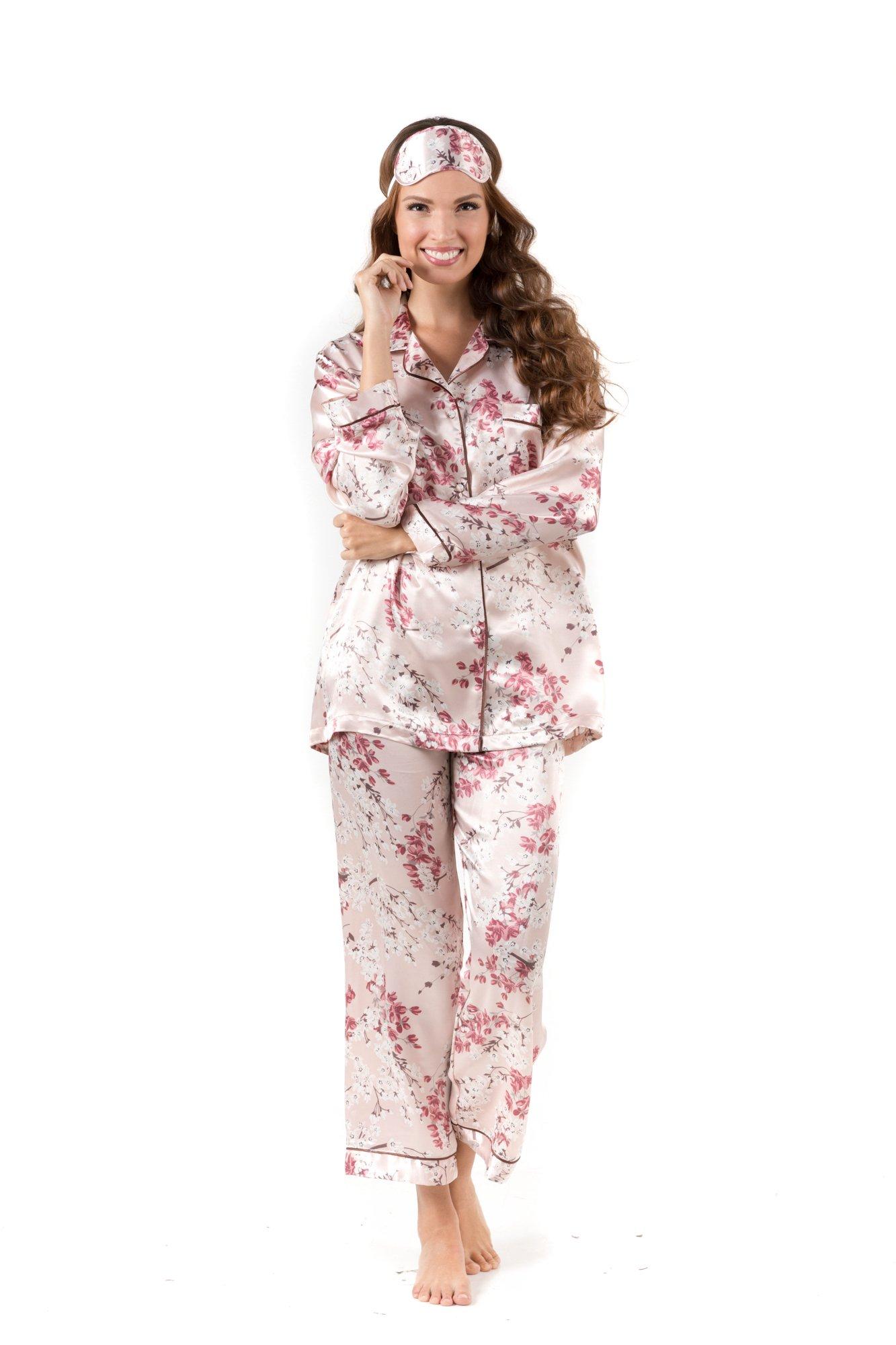 Pajamas for Women - Long Sleeve Button Down Silk Satin Pajama Set - Gift Eye Mask (XL, Beige Floral)