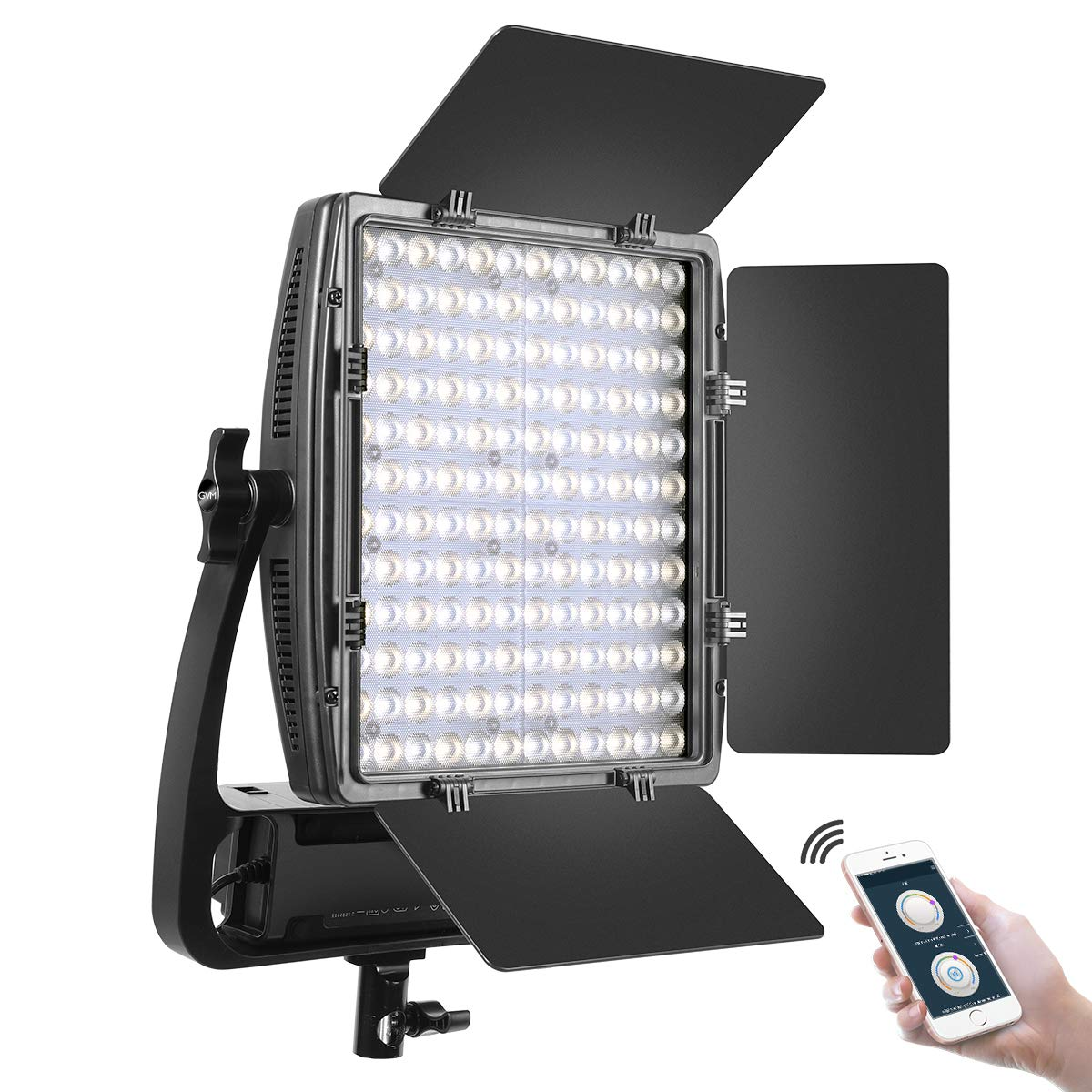GVM LED Video Lighting Panel with (1 Pack) Optical Lens, 50W Bi-Color 2X Ultra Bright, 3200K-5600K High CRI/TLCI 97+ Professional Studio Photography Lighting with APP Barn Doors Soft Diffuser by GVM Great Video Maker