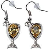 Prefen Alloy Wine Glass Earrings with Wine Tinted Crystal - Fun Wine Gift