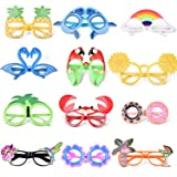 FUN LITTLE TOYS 12 PCs Luau Party Glasses, Hawaiian Funny Glasses for Summer Party Supplies, Kids Party Favors