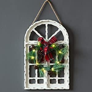 Sunnyglade Holiday Wall Hanging Door Decorations Wood Plaqu Signs Christmas Ornament Home, School, Office Including Wreath, Wooden Arch Led Lights, 0, White