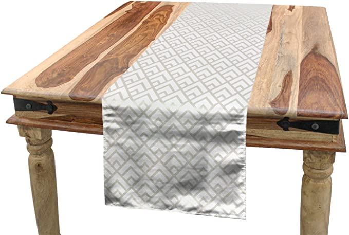 Geometric Table Runner Grid Minimal  Diamond Black And White Simple Cotton Sateen Table Runner by Spoonflower Diamond by pattern-method