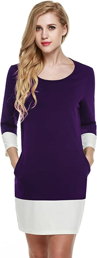 Meaneor Women's Color Block Patchwork 3/4 Sleeve Shift Dress with Pockets