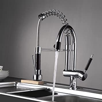 Fapully Commercial Spring Pre-Rinse Single Lever One Hole Pull Down ...