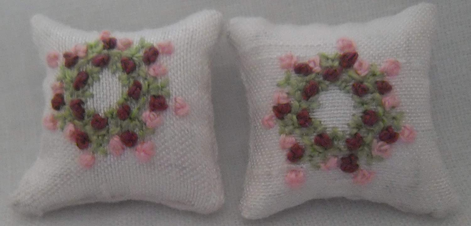 1//24th Scale Dolls House Cushions Pink Flowers