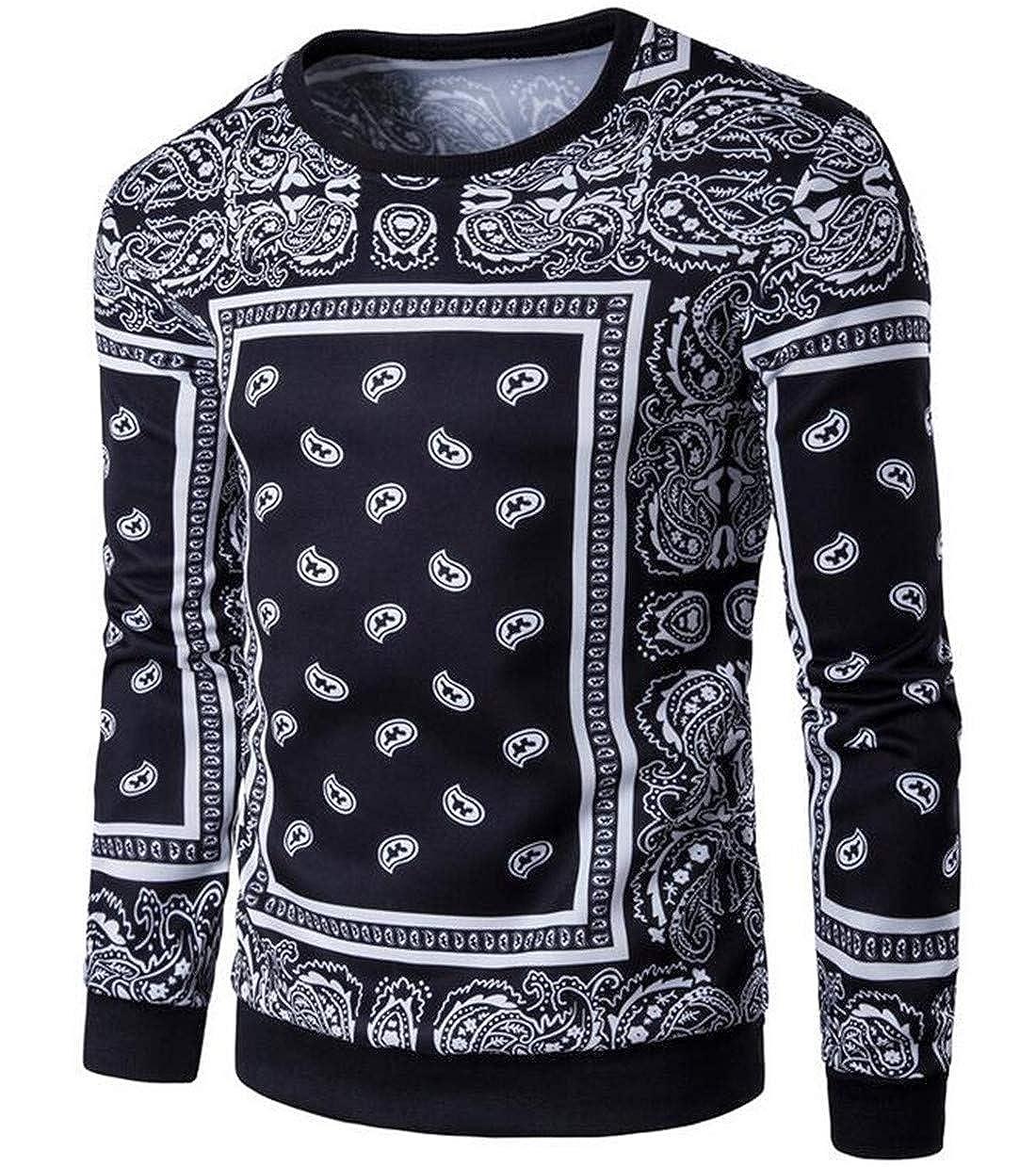 UUYUK Men Crew Neck Sweatshirt Paisley Casual Print Long Sleeve T-Shirts