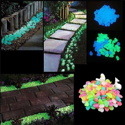 KOUSOU brilla en la oscuridad Glow Pebbles piedra jardín piedras para pasarelas y decoración (multiple-colors): Amazon.es: Jardín