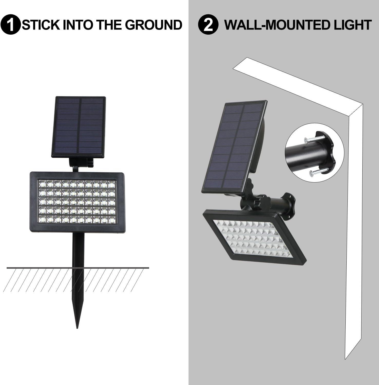 Luz de Paisaje al Aire Libre para Garaje 2 Modos de Iluminaci/ón Opcionales Piscina Billboard. Se/ñal 6000K T-SUN Luces Solares de Inundaci/ón de 50 LED Calle Impermeable Luz de Jard/ín Solar