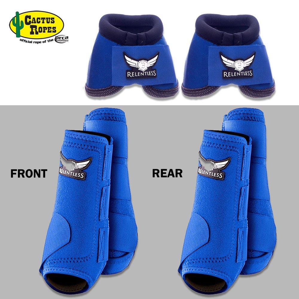 MED Blue Relentless Trevor Brazile Front Rear Sport Bell Boot 6 Pack Horse Leg