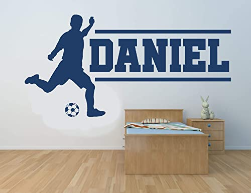 Personalized Name Soccer Player Vinyl Wall Art Sticker Mural Decal Children S Bedroom Playroom Sports Football Handmade