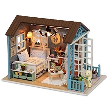 Mamum Puppenhaus Spielzeug, DIY 3D Puppenhaus Papier Miniatur Möbel Kit LED  Light Kinder Bernstein Geschenk