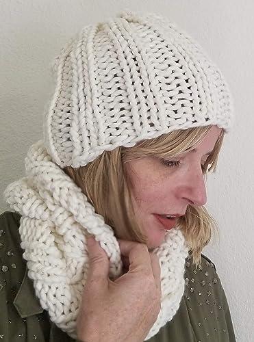 fdd71298f1d Amazon.com  White Chunky Merino Wool Beanie Hat and Infinity Scarf Set   Handmade