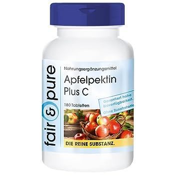 Pectina de manzana más C - con vitamina C y calcio - 180 comprimidos veganas - Sin adyuvantes ni aditivos: Amazon.es: Salud y cuidado personal
