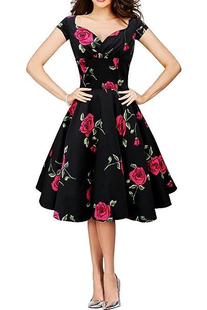 BlackButterfly Ruby Vestido Vintage Infinity Swing (Negro - Grandes Rosas, ES 36