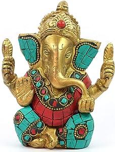 Brass Shri Ganesha Idol for Home Statue of Lord Hindu God (Ganesh-01)