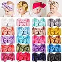 DeD 20 Pieces Soft Elastic Nylon Headbands Hair Bows Headbands Hairbands for Baby Girl Toddlers Infants Newborns