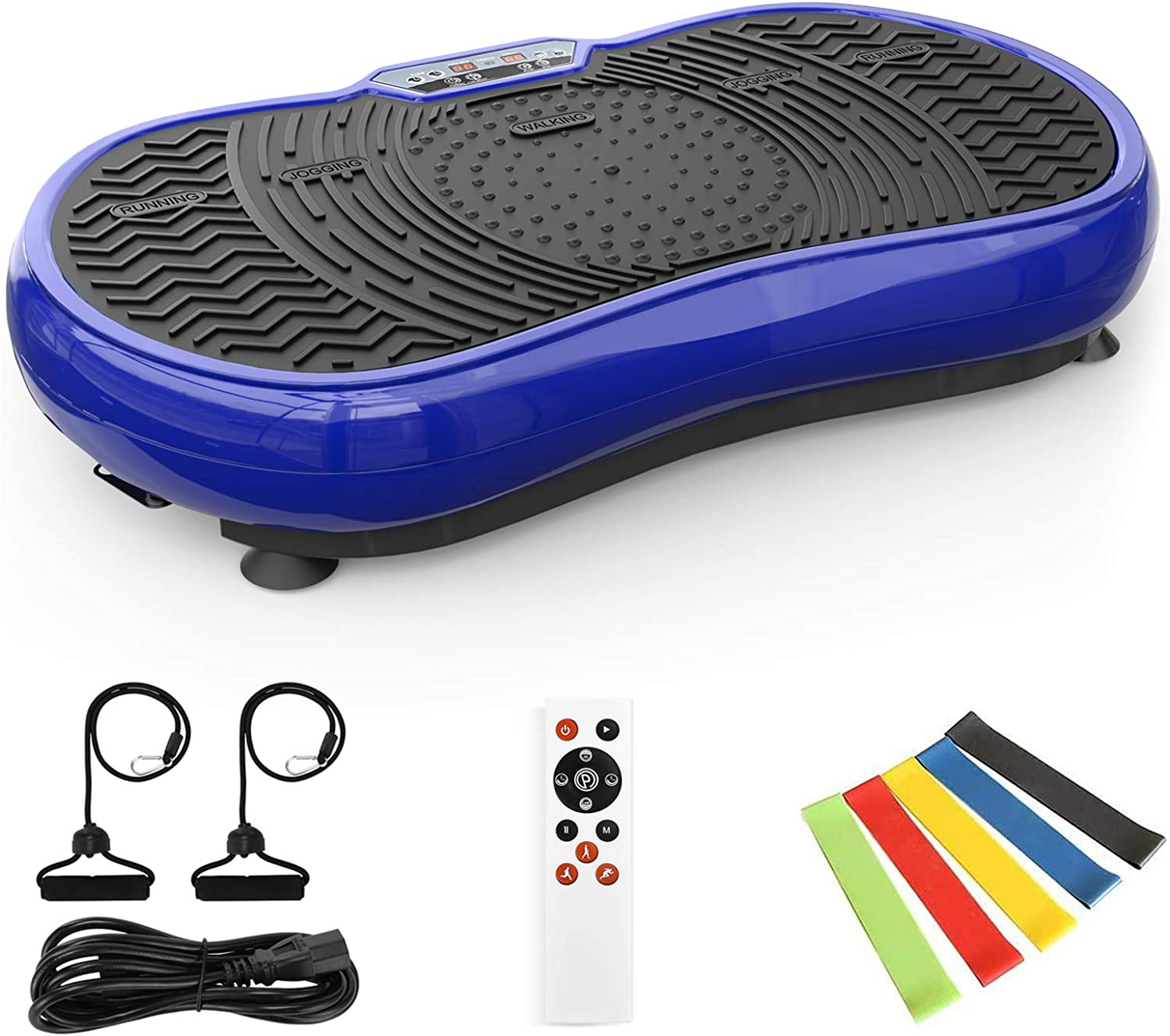 TECHMOO Fitness Vibration Power Plate Platform Whole Body Workout Exercise Machine Home Exercise Equipment W/Remote Control & Bands for Home Fitness Losing Weight Max User Weight 320lbs
