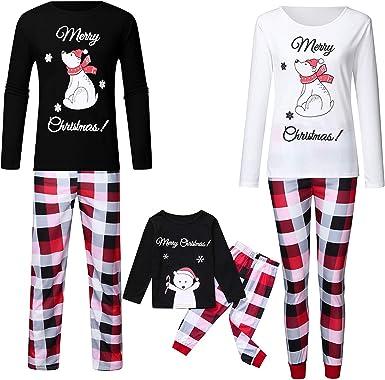 huateng Conjunto de Pijamas navideños a Juego con la Familia ...