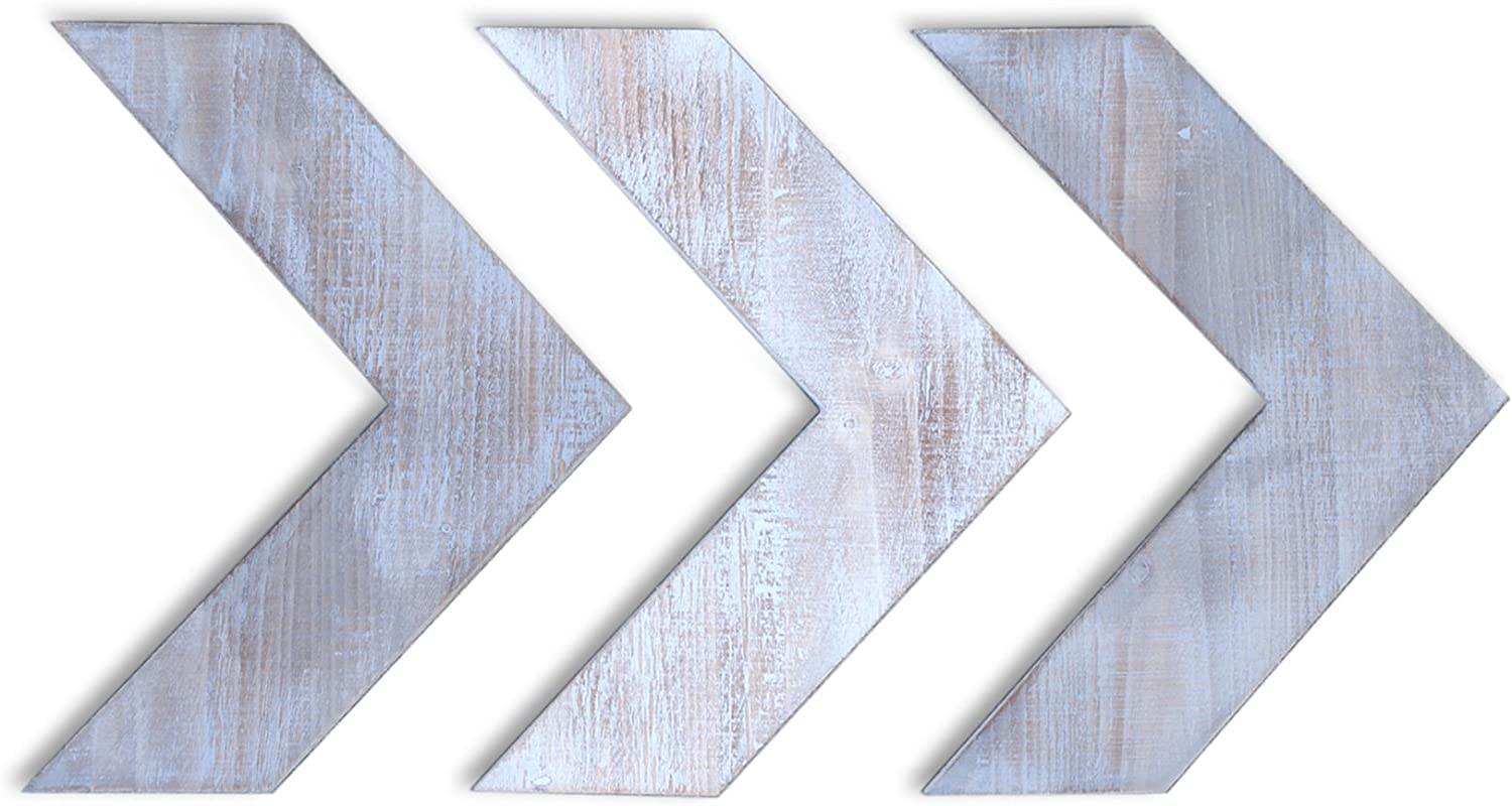 Country Rustic Weathered Gray Wooden Arrow Wall Hanging Farmhouse Decor