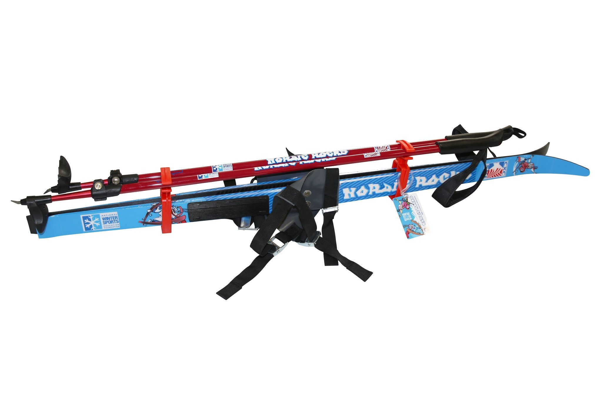 Nordic Rocks Kid's XC Skis and Poles - 47 inch youth skis with step-in bindings and adjustable poles by Nordic Rocks