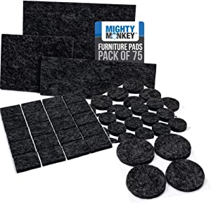 MIGHTY MONKEY Felt Furniture Gripper Pads, 75 Pack, Easy Glide, Stays on Furniture, Pad Prevents Scratches on Floors, Prescored Adhesive Strips Secure to Furniture, Heavy Duty, Protects Floor, Black