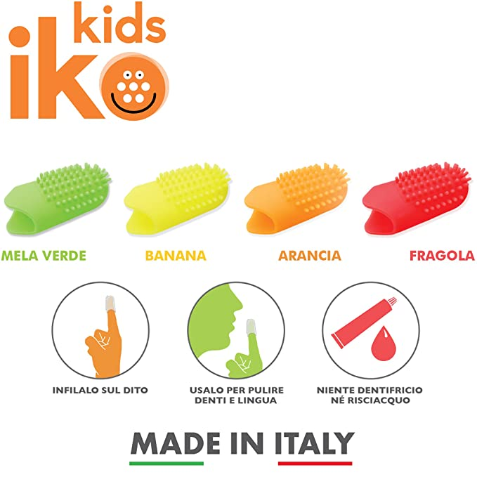 Iko Kids, kit 4pz cepillo de dientes de dedo para niños, cepillo de dientes sin necesidad de agua y pasta de dientes,libera flúor durante el uso, ...