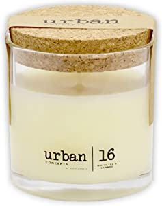 Urban Concepts by DECOCANDLES | White Tea & Bamboo - Highly Scented Soy Candle - Long Lasting - Hand Poured in USA, 6.7 Oz. w/Cork lid