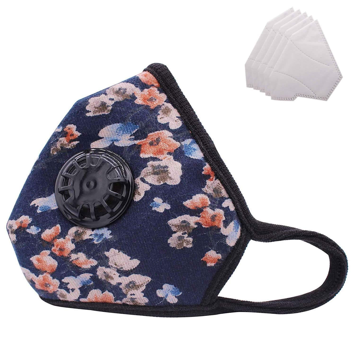 Lyanty Anti Pollution Mask Military Grade N99 Mask Washable Cotton Mouth Masks With Valve Replaceable Filter ANPLUS MASK