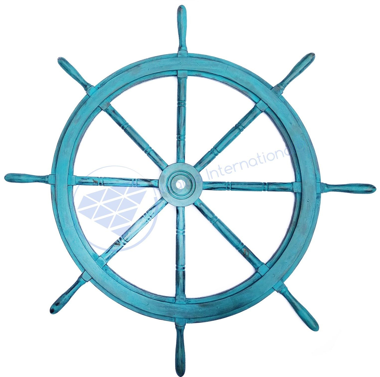 Nagina International 48'' Tinted Sky Blue Vintage Antique Hand Crafted Nautical Decor Ship Wheel | Premium Pirate Wood Decorative Gift